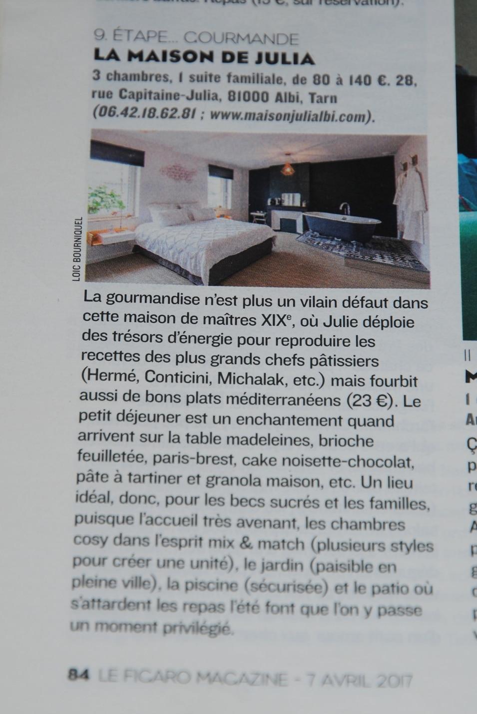 Article du Figaro Magazine parlant de la maison de Julia.
